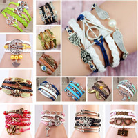 Wholesale Silver Infinity Rudder - Wholesale Lots Mix Styles Retro Antique Silver Infinity Anchors Rudder Multilayer Diy Hand-woven Leather Cuff Bracelets Brand New