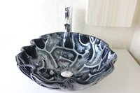 Wholesale Basin Set Glass Sink - Melt draw black edge circle basin Tempered Glass Vessel Sink With Faucet Set N-742