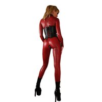 Wholesale sexy leather women costumes for sale - M L XL Sexy Catsuit Lingerie Black Red Faux Leather Plaid Long Jumpsuit Zipper to Crotch Bodysuit Pole Dance Costume for Women W7942