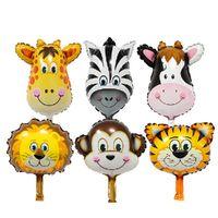 Wholesale Zebra Birthday - New 6pcs   lots mini monkey head tiger head lion zebra head pig deer aluminum balloons birthday party balloons