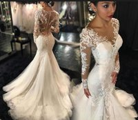 Wholesale Black Trim Mermaid Wedding Dress - 2016 Mermaid Lace Bridal Wedding Dresses Fashion Style with Sweetheart Neckline Trimmed Gowns Dhyz Floor Length Long Sleeves