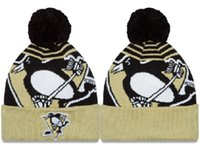 Wholesale 2016 Men and women sport team knit Skullies cap Pittsburgh Penguins Beanie ice hockey cool funny pom beanie hat