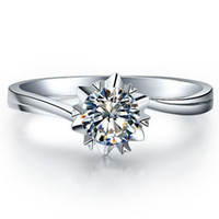Wholesale 1ct Diamond Silver Ring - 1CT Twist Setting Snowflake Propose Brand Jewelry SONA Diamond Ring for Women Engagement Solitaire Sterling Silver in 18K White Gold Plated