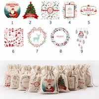 Wholesale Lucky Bag Year - Christmas Canvas Gift Bags Reindeer Santa Claus Snowman Printed Rope Bag New Year Lucky Red Bag Gift Rope Bag WL14