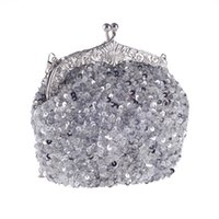Handmade Heavy Sequin Beaded Bridal Hand Bag Lady Wedding Prom Cocktail Party Evening Clutch Handbag Prata Preto Vermelho Ouro Verde Champanhe