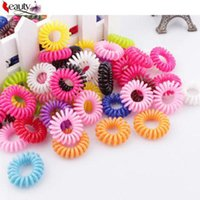 Wholesale Hairband Telephone - 10 pcs hot Multi-color telephone line string elastic rope ring phone not to hurt the hair Hairband Hair Accessories