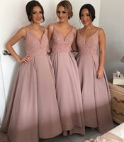 Wholesale gold bare - 2017 Pretty Satin Bare Pink Country Bridesmaid Dresses Spaghetti Straps V Neck A Line Party Prom Dresses With Beaded