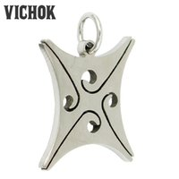 Wholesale Hollow Point Necklace - 316L Stainless Steel Four-pointed Star Flower Streamline Cut Hollow Pendant Europe Retro Necklace Fashion Jewelry for Women Men VICHOK