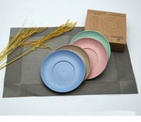 Wholesale Wholesale Wood Straws - Wheat Straw Multi Color Round Plates Lunch Dinner Snacks Fruit Dessert Tray Environmentally Friendly Plate 4PCS SET