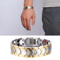 acier inoxydable magnétique achat en gros de-Mode Guérison Énergie Or Couleur En Acier Inoxydable Bracelet Double Rangée Germanium Magnétique Bracelets Bracelets pour Hommes Bijoux Hommes Cadeau B805S