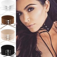 Wholesale Leather Straps For Necklaces - New European Exaggeration Black Velvet Leather Rope Tie Strap Wide Chokers Necklace Fashion Collar Necklace for Women Club Party Accessories