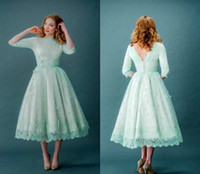 Wholesale New Mint Green Bridesmaid Dress - 2016 New Mint Green Lace Bridesmaid Dresses Long Sleeves Bateau Tea-Length Cheap Modest Country Maid of Honor Party Prom Gowns Plus Size