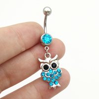 Wholesale Barbell Belly Button - 2016 new rhinestone vinage owl charm pendant dangling pendant barbell navel belly stud body piercing jewelry belly button rings