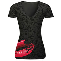 Wholesale Sexy Girls Tee - wholesale sexy red lip print long tees womens long t-shirts v-neck popular womans tees 4 size classic girls tshirts hip hop sweatshirts