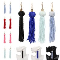 Wholesale Vintage Beaded Chandelier - Women'S Lightweight Tassel Earrings Bohemia Beaded Dangle Tassel Earrings Luxury Vintage Earrings 8 Colors Free DHL B661L