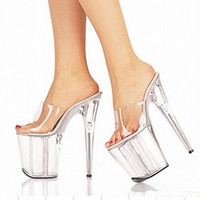 Wholesale Heels For Low Prices - 8 Inch Clear High Heel Sandals Gorgeous Crystal Slippers Low Price 20cm Platform Women's Shoes Club Heels For Ladies Casual Shoe