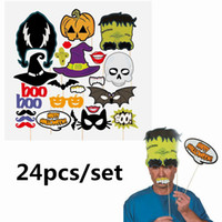 Wholesale Halloween Spider Cake - 24pcs set Halloween Photo Booth Props Pumpkin Bat Spider Witch Lips Party Supplies Mask Mustache for Fun photobooth