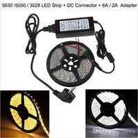 Wholesale Power Connecter - RGB   Cold White   Warm White 12V 5M 300 LED Flexible SMD 5630 5050 3528 LED Strip Light + DC Connecter+12V 6A Power Supply Adapter