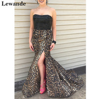 Wholesale Leopard Print Carpet - Strapless Leopard Print Mermaid Prom Homecoming Dress Beaded Taffeta Pattern Sweep Train Skirt Slit Red Carpet Pageant Gown Lewande 32157