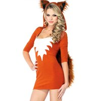 Wholesale Brown Cosplay Tail - High Quality Sexy Clever Fox Cosplay Dress Adult Costume Naughty Animal Fancy Dress Halloween Hooded Fox Costume with Tail W529081