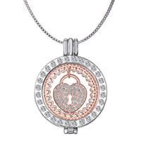 schwimmende medaillons großhandel-Hohle Halsketten Herz Medaillon Münzen Moneda Anhänger Halskette Meine Münze Halskette mit 65cm Kette Kristall schwimmende Medaillons Anhänger Liebesschlösser