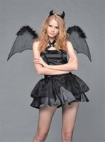 Wholesale Sexy Costumes Wholesale Europe - 2016 New Hot Europe Sexy Black Demon Angel Vampire Bat Fun Role-playing Clothes Suit Cosplay Halloween Christmas Without Socks