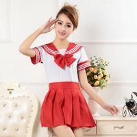 Wholesale Sailor Girl Fancy Dress - Wholesale-Preppy Style 2Piece Suit School Girl Uniform Dress T-Shirt + Mini Skirt Outfit Sailor Sailor Cosplay Holiday Costume Fancy Anime