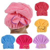 Wholesale Wholesale Towel Fabric - Home Textile Microfiber Solid Hair Turban Quickly Dry Hair Hat Wrapped Towel Bath 6 Colors Available Superfine fiber fabrics