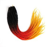 Wholesale Orange Hair Extensions - Synthetic 2X Braids ombre braiding hair Crochet Braids twist 18inch Ombre Black&Orange&Yellow three tone synthetic hair extensions