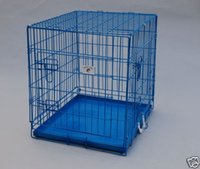 """Wholesale Blue Dog Cage - 24"""" Blue Pet Folding Dog Crate Cage Kennel W Metal Pan New"""