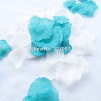 Wholesale Turquoise Wedding Petals - 2000pcs Fashionable bulk rose petals turquoise artificial flowers wedding accessories petalas de rosas para casamento 20pack