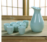 Wholesale Hand Painted Ceramic Pots - Cups Ceramics Wine Pot Set decoration Home Japanese Pottery Porcelain Sake Set Hand Painted Wine Cup Sake Pot Cups Set Kitchen Dining