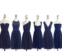 Wholesale Strapless Knee Length Prom Dresses - Short Bridesmaid Dresses Navy Blue Chiffon Bridesmaids Dress Mismatched Maid Of Honor Dress Girls Group Knee Length Simple Cheap Prom Dress