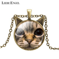 Wholesale Vintage Cat Picture - Wholesale-Vintage Bronze Statement Necklace Cat Art Picture Glass Cabochon Pendant Necklace Summer Jewelry Accessories for Women 2016