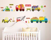 Wholesale Trucks Wall Decals - Excavator Blender Truck Hoist Forklift Trailer Bus Wall Stickers for Kids Boys Room Nursery Decor City Construction Truck Wall Applique
