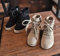 Wholesale Cow Girl Fashion - Fashion kanye west Children Shoes Genuine Leather Martin Boots Girls Boy Shoes parent-child style shoes Casual kids shoes