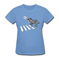 zebra baskı tee toptan satış-Toptan-bayan T-shirt ve 3D zebra geçişi yol baskı kısa T-shirt% 100% konfor pamuk tees multicolors siyah beyaz