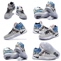 Wholesale Sail Shoes Men - (with Box)Kyrie 2 II Irving Men Basketball Shoes Low Shoes all-stars Effect Tie Dye Multicolor Black Sail Cav 819583-901 Kids shoes