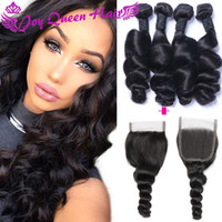 Wholesale Cheap Real Hair Extensions - Cheap Real Brazilian human hair weave closure Loose wave Hair extension with Frontal lace closure Peruvian Indian Hair bundles W Lace closue