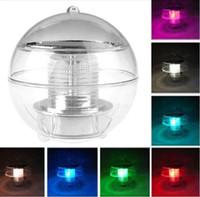 Wholesale Led Lights 2v - 2016 New arrivals Waterproof Pool Solar Power RGB LED Floating Light Lamp 2V 60mA Outdoor Garden Pond Landscape Color Changing Night Lights
