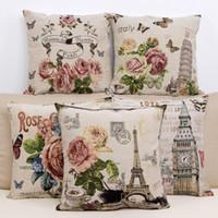 Wholesale Vintage Paris Prints - Vintage Printing Pillow Cover w  Paris Eiffel Tower 17.7x17.7 inch Cotton Linen Throw Pillow Cushion Case Home Decorative Pillowcase