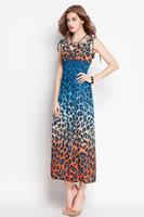 Wholesale Maxi Long Dress Leopard Print - 2016 Leopard print Maxi dresses 3 colors bohemian dress beach wear long dress summer women clothes dresses free shipping