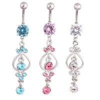 Wholesale Surgical Steel Navel Piercings - 316L Surgical Steel Navel Prong Set Zircon Percing Bijoux Women Ombligo with Faceted Beads Vine Dangle Piercing Belly Rings