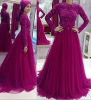 Wholesale Dress Line Floor Lenght - 2017 Arabic Muslim Purple Evening Dresses Jewel Neck A Line Lace Applique Tulle Floor Lenght Prom Party Gowns Custom Made