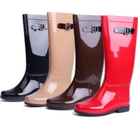 Wholesale Candy Colored Boots - New candy colored buckle fashion shoes ladies high water boots women rain boot