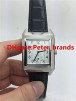 Wholesale Cheap Watches Silver Women - Silver case white dial black genuine leather band woman watch luxury brand cheap fashion women wathces mechanical automatical lady's