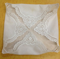Wholesale ladies white handkerchiefs resale online - HomeTextiles Ladies Handkerchief White soft cotton Wedding Handkerchief x12 quot Elegant Embroidered crochet lace edges For Bride