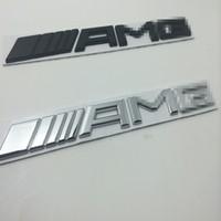 Wholesale Black Trunks Logo - 3d metal Chrome Car Logo 3D Metal AMG Badge Sticker For Mercedes Ben Trunk Rear Decal SL SLK Class CLK