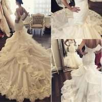 Wholesale Wedding Gown Fancy Back - 2017 Arabic Fancy New Mermaid Wedding Dresses Sweetheart Lace Appliques Luxury Train Design Spaghetti Straps Button Back Novia Wedding Gowns