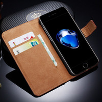 Wholesale Card Holder Flip Phone Case - Leather Wallet Case For iPhone 7 7 Plus Wallet Flip Cover Phone Bag Case For Apple iPhone Stand With Card Holder
